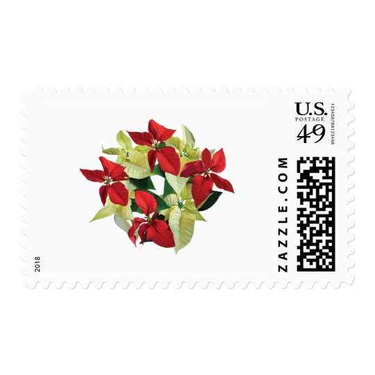Circle of Red and Yellow Poinsettias Postage