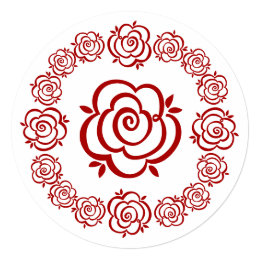 Circle of Roses - Red Outlines - Blank on Back Card