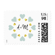 circle of small hearts of love with initials . wed postage