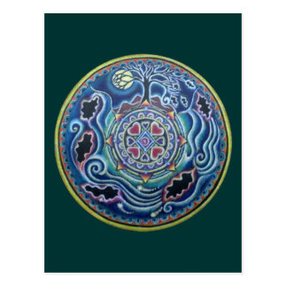 Circle of the Seasons- Fall Equinox Mandala Postcard
