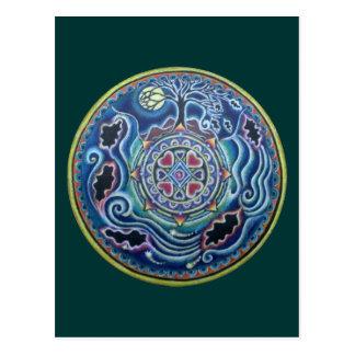 Circle of the Seasons- Fall Equinox Mandala Postcard