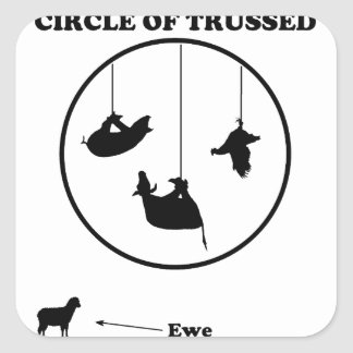 Circle of Trussed / Trust Wordplay Square Sticker
