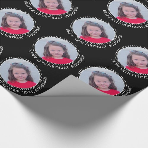 Circle One Photo with Birthday Greeting - Black Wrapping Paper