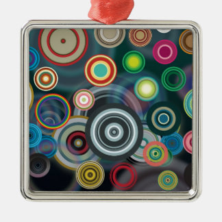 Circle Pattern Square Metal Christmas Ornament