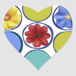 Circle pattern with flowers .JPEG Heart Sticker