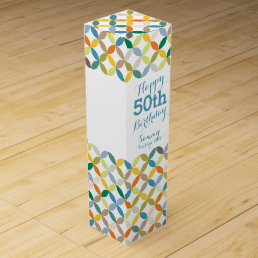 Circle patterned named 50th birthday wine box