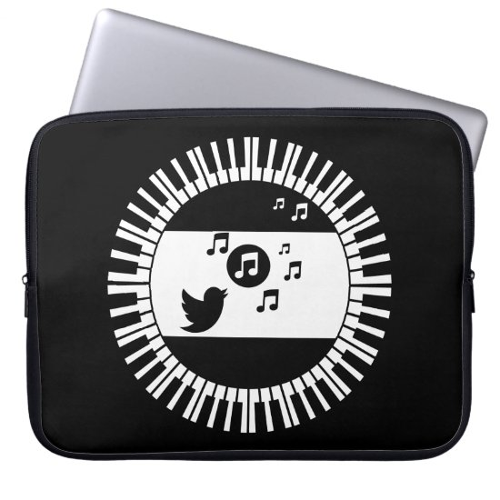 Circle Piano Keys and Songbird Laptop Sleeve