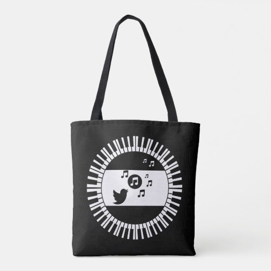 Circle Piano Keys and Songbird Tote Bag