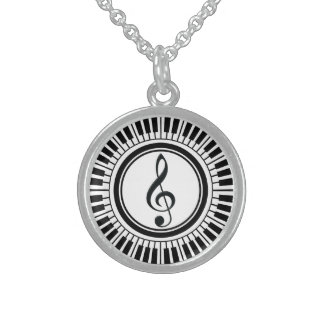 Circle Piano Keys and Treble Clef Sterling Silver Necklaces