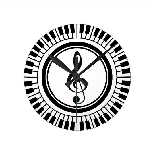 Circle Piano Keys And Treble Clef Round Clock Zazzle Com