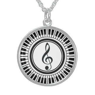 Circle Piano Keys and Treble Clef Sterling Silver Necklace