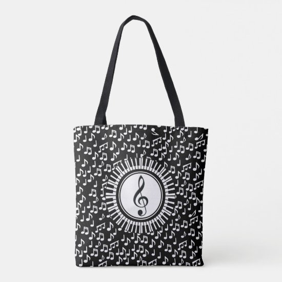 Circle Piano Keys and Treble Clef Tote Bag