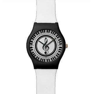 Circle Piano Keys and Treble Clef Wristwatch