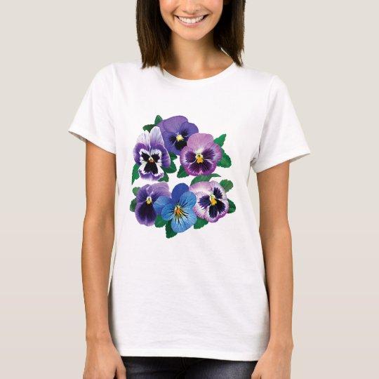 Circle Purple Pansies Ladies T-Shirt