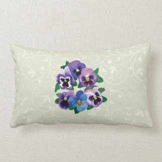 Circle Purple Pansies Lumbar Pillow
