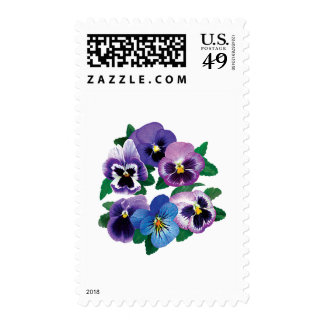 Circle Purple Pansies Postage Stamps