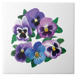 Circle Purple Pansies Tile