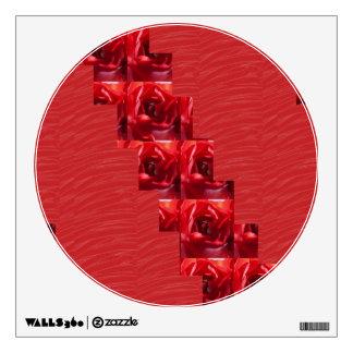 Circle red silk ROSE FLOWER HAPPY Sparkle PRINT Wall Sticker