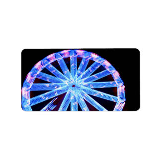 circle ride neon abstract circus fair midway address label