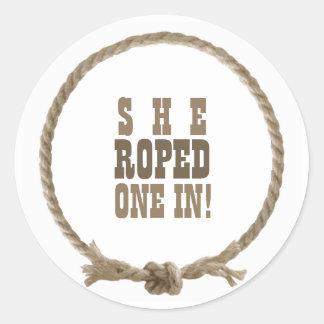 Circle rope western design classic round sticker
