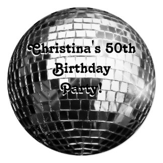 Circle Round Silver Disco Ball 50th Birthday Party Card