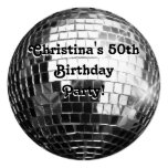 Circle Round Silver Disco Ball 50th Birthday Party Invitation