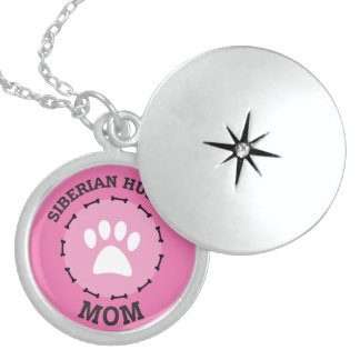 Circle Siberian Huskie Mom Badge Locket Necklace