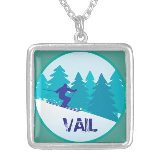 Circle Ski Vail Silver Plated Necklace