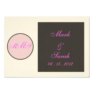 Circle Square Pink Monogram Wedding Invitation