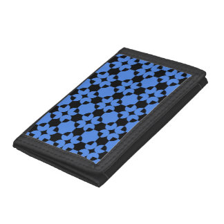 Circle square shapes pattern blue white colors trifold wallet
