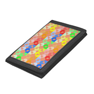 Circle square shapes repeating pattern multicolors trifold wallet