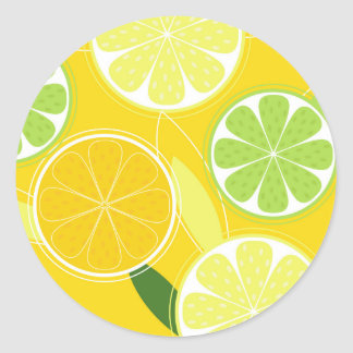 Circle / stamp with lemons classic round sticker