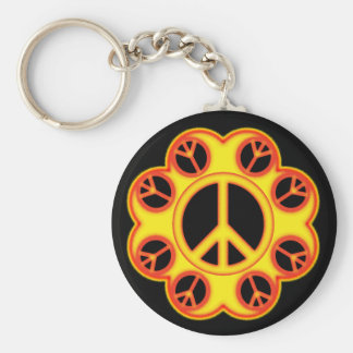 CIRCLE THE PEACE SIGN BASIC ROUND BUTTON KEYCHAIN