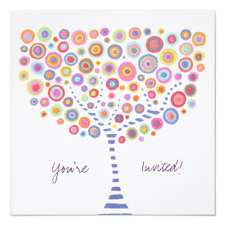 Circle Tree Retro Blank Fill In Invitation