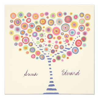 Circle Tree Retro Custom Wedding Invitation