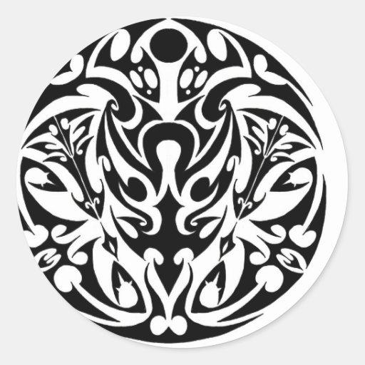 circle tribal tattoo design round sticker