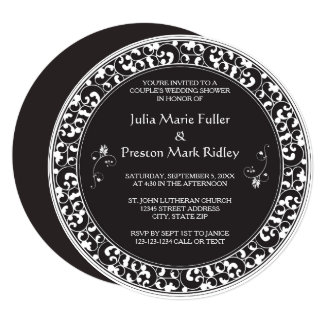 Circle Vintage Black Design-Couple's Shower Invite