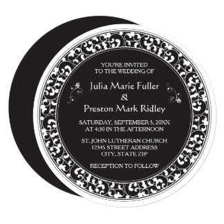 Circle Vintage Black Design - Wedding Invitation