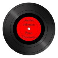 circle vintage vinyl record wedding Invitation