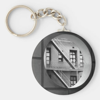 Circle With Fire Escape Basic Round Button Keychain