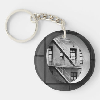 Circle With Fire Escape Double-Sided Round Acrylic Keychain