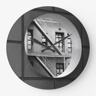 Circle With Fire Escape Large Clock