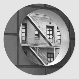 Circle With Fire Escape Round Stickers
