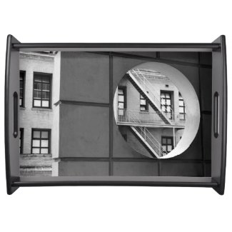 Circle With Fire Escape Serving Tray