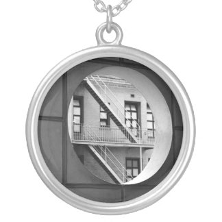 Circle With Fire Escape Silver Plated Necklace