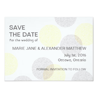 "Circle Yellow and Grey Save the Date 4.5"" X 6.25"" Invitation Card"