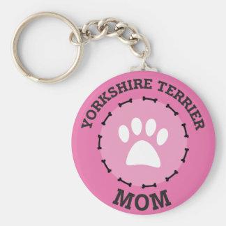 Circle Yorkshire Terrier Mom Badge Keychain