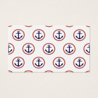 Circled Anchors Nautical Pattern Business Card