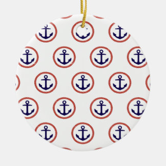 Circled Anchors Nautical Pattern Ceramic Ornament