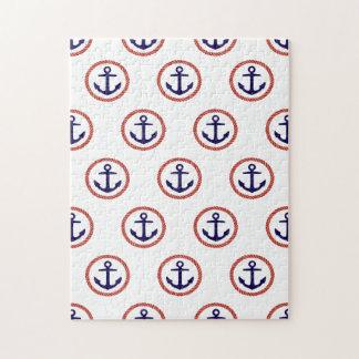 Circled Anchors Nautical Pattern Jigsaw Puzzle